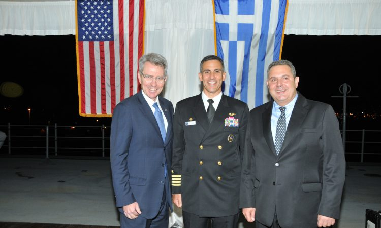 Ambassador Pyatt with Captain Sardiello and Greek Minister of National Defence Panos Kammenos (Photo by Diplomatic Life magazine)