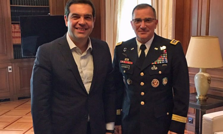 General Scaparrotti and Greek Prime Minister Alexis Tsipras (State Department Photo)
