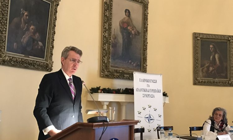 Ambassador Pyatt delivers remarks at the Hellenic Armed Forces Officers' Club (LAED) (State Department Photo)