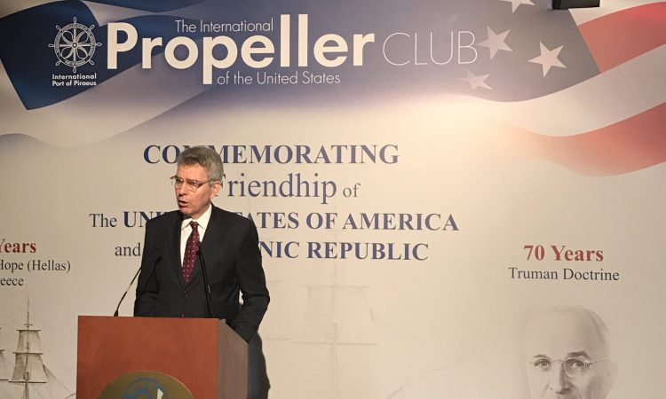 "Ambassador Pyatt delivers Remarks at the Truman Doctrine and US Frigate ""Hellas"" Anniversary Celebration (State Department Photo)"