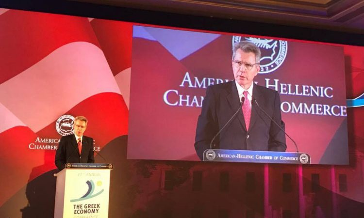Ambassador Pyatt delivers remarks at AMCHAM Greek Economy Conference (State Department Photo)