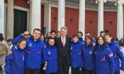 Ambassador Pyatt with Greek Special Olympics athletes at Torch Lighting Ceremony, Zappeion, Athens (State Department Photo)