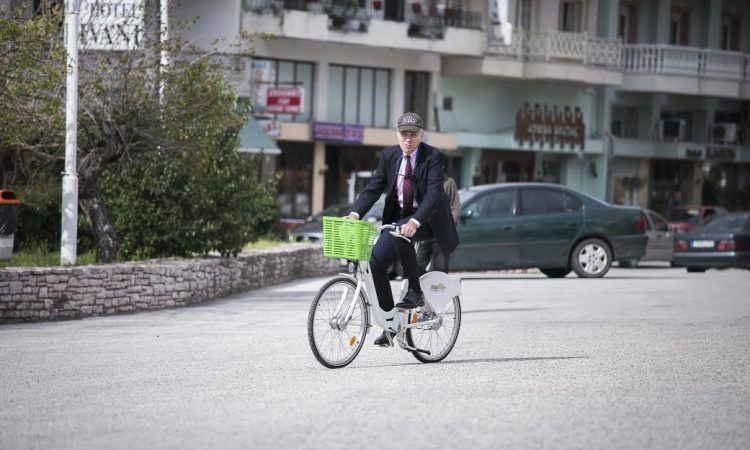 Ambassador Pyatt Bikes at Divani Hotel (State Department Photo)