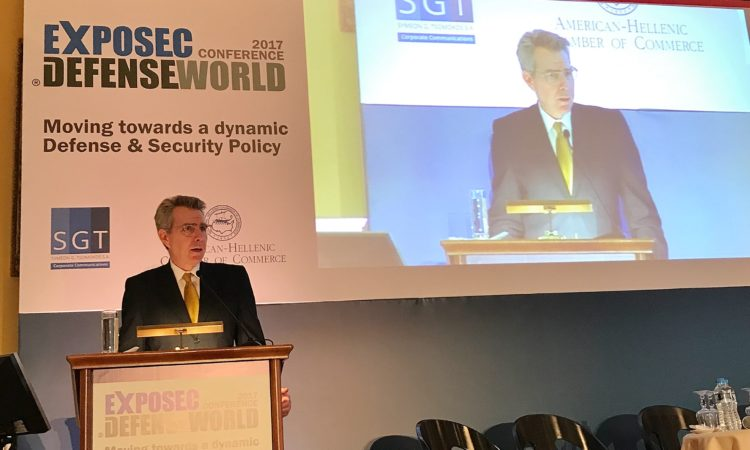 Ambassador Pyatt delivers remarks at EXPOSEC 2017 (State Department Photo)