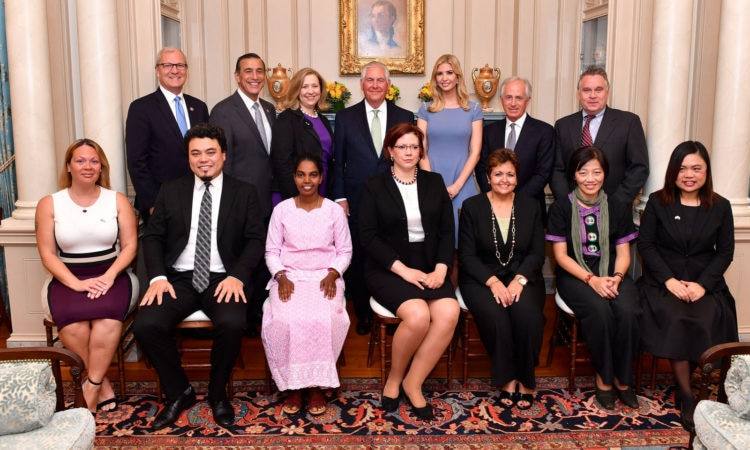 Secretary Tillerson, Advisor to the President Ivanka Trump, Ambassador Coppedge, and Members of Congress Pose for a Photo With the 2017 Trafficking in Persons Heroes