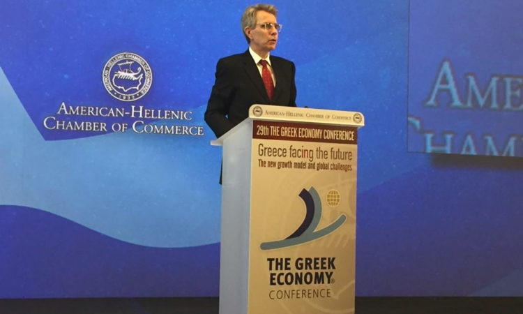 Ambassador Pyatt delivers remarks at Greek Economy Confernce (State Department Photo)