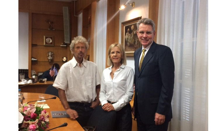 Ambassador Pyatt with Mayor of Livadeia Mr. Poulou and UNHCR Greece Mr. Tsambropoulos (Sta