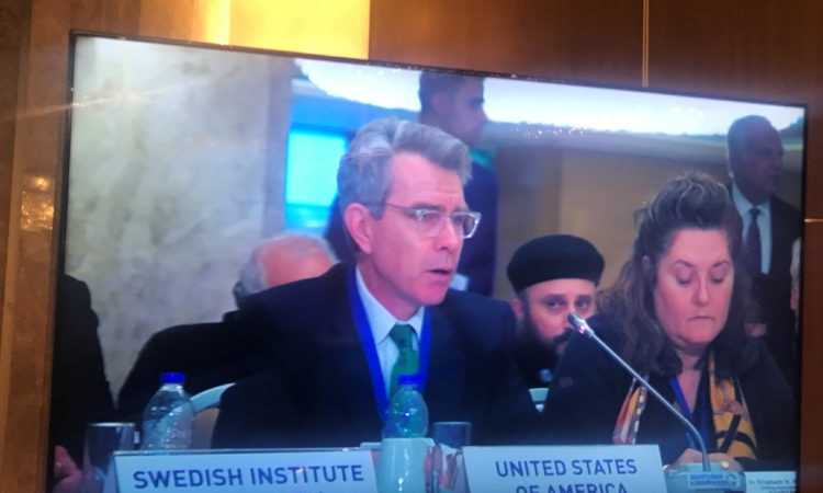 Ambassador Pyatt speaking at the Conference on Religious and Cultural Pluralism and Peaceful Coexistance in the Middle East (State Department Photo)