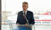 Ambassador Pyatt delivers remarks at the Piraeus Marine Club (State Department Photo)
