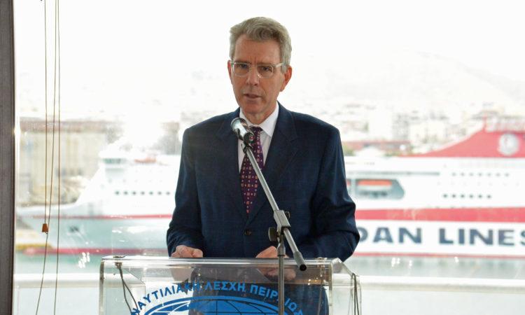 Ambassador Pyatt delivers remarks at the Piraeus Marine Club (State Department Photo)