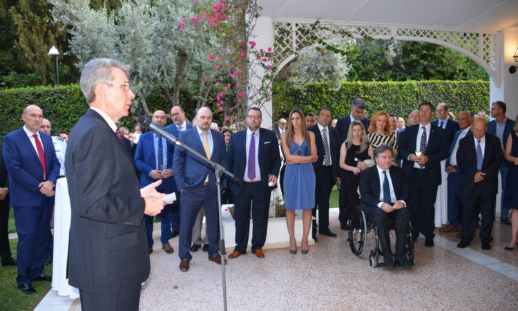 Ambassador Pyatt delivers remarks during Posidonia reception at the residence (State Department Photo)