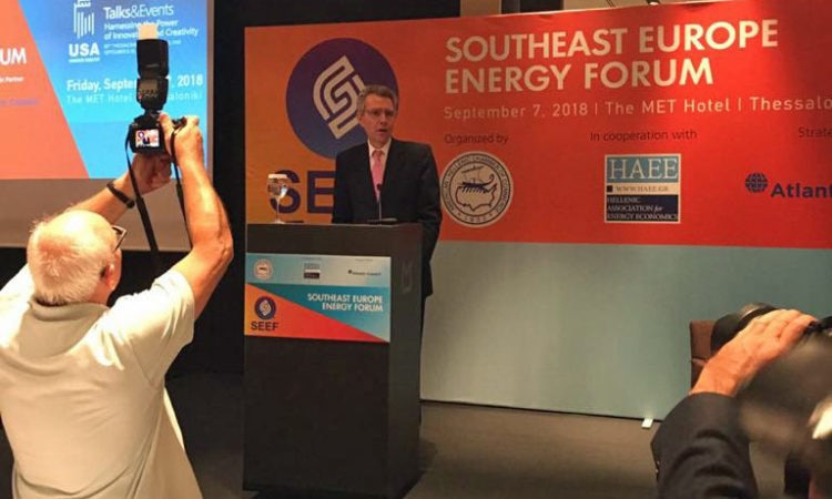 Ambassador Pyatt delivers welcome remarks at the Southestern Europe Energy Forume at TIF2018 (State Department Photo)